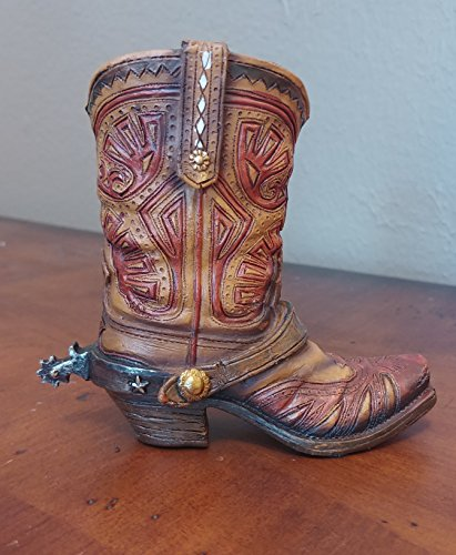 Star Holder Toothpick (Mini Western Cowboy Cowgirl Boot - Use as a small Vase, Toothpick or Pen Holder - Rustic Leather Look with Star Concho)