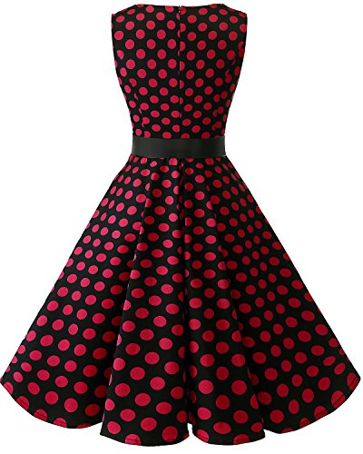 Red Audrey V Dress 1950s Classy Rockabilly Black Vintage Women's Hepburn Swing Dot Neck Bridesmay B7R4wSqx