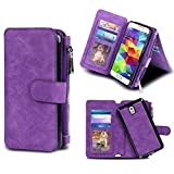 Galaxy Note 3 Case, Coolden Multifunctional Galaxy Note 3 Wallet Case Folio Flip Magnetic Detachable Cover with Built-in Card Slot/Holder and Kickstand Feature for Galaxy Note 3 - Purple