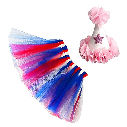 Mixed Colors Dog Tutu Skirt Birthday Outfit Kit with Cute Glitter Cone Hart Halloween Costume (X-Large, Blue Red)