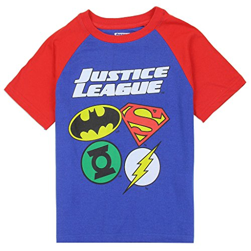Justice League Little Boys' Hero Logos Raglan Tee (5)