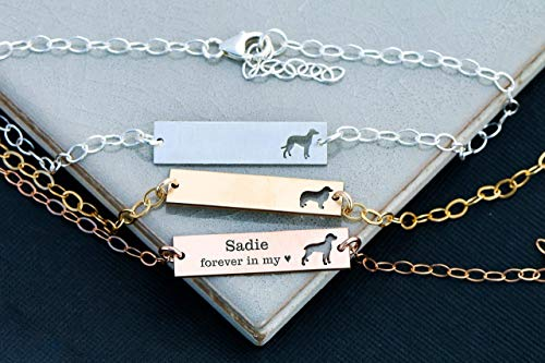 Personalized Dog BAR Bracelet - IBD - Layering Charm - Personalize Name Date - 935 Sterling Silver 14K Rose Gold Filled - Fast 1 Day Production