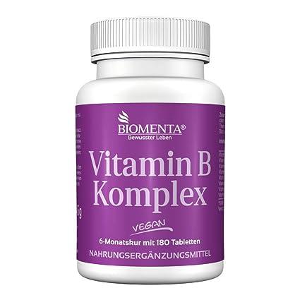 biomenta Vitamina Complejo B 180 VEGANO vitamin-b-tabletten Tiamina, Riboflavina, Niacina