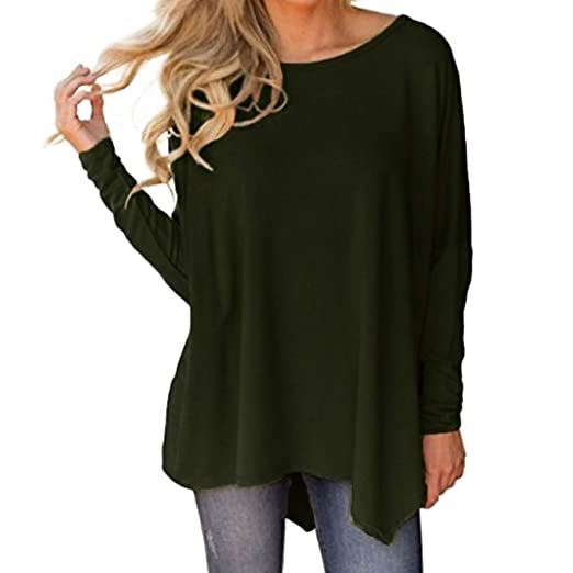 b8c21ae1d9c863 iZHH Shirts for Women Long Sleeve O-Neck Pure Color Batwing Sleeve  Irregular Hem Blouse