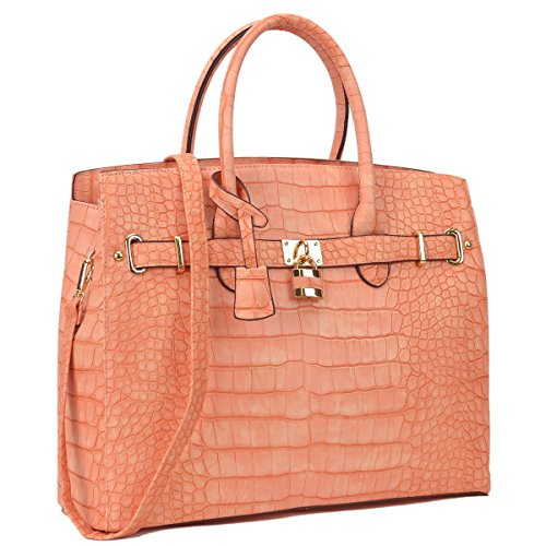 Padlock Handbags (03 Croco Taller Style- Light Orange)