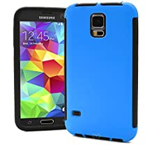 Galaxy S5 Case, MagicMobile® Dual Hard Hybrid Durable Shockproof Water Resistant Blue Armor Two Pieces Cover with Buit-in Screen Protector