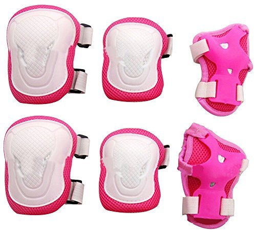Elandy Adult Women/men Unisex Knee Elbow Wrist Protective Pads Set for Skateboard Cycling Roller Skating and Other Outdoor Sports Safety Protective Gear Pads Set Color Pink+white