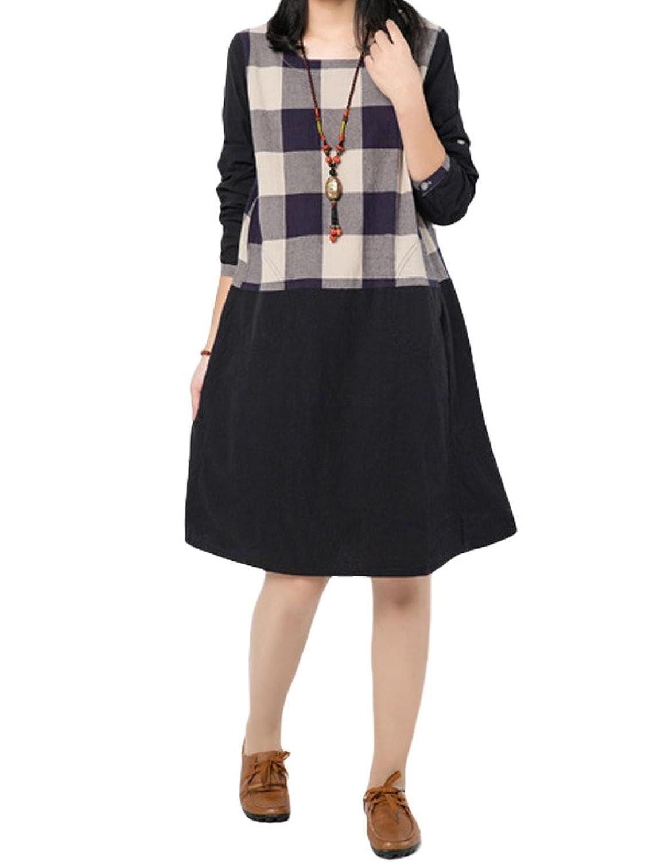MatchLife Damen Plaid Freizeitkleider Langarm Kleider