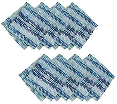 Casual Living by Newbridge Color Stream Indoor Outdoor Polyester Table Linens, 17-Inch by 17-Inch Napkins Set of 8, - Shabby Table Outdoor