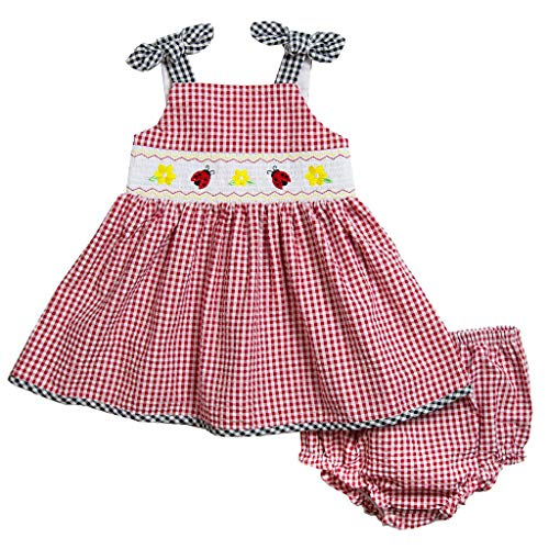 Good Lad Newborn/Infant Girls Red Seersucker Smocked Sundress with Ladybug Embroideries - Sundress Smocked Girls