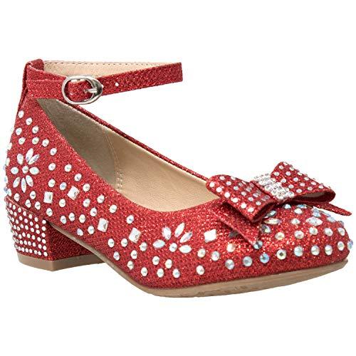 SOBEYO Kids Dress Shoes Girls Glitter Rhinestone Bow Accent Mary Jane Pumps