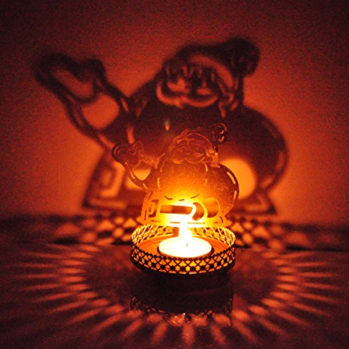 Hashcart Traditional Tea Light Candle Holder/Metal Candle Light Holder Set/Designer Votive Candle Holder Stand/Table Decorative Candle Holders, Santa Shadow Tea Light for Home Living Room & Office