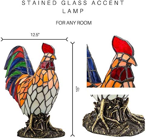 """15.5"""" Red Rooster Stained Glass Accent Lamp"""