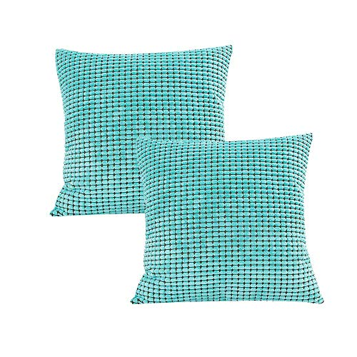 (EIVMAX Pack of 2 Corduroy Corn Striped Both Sides Comfortable Supersoft Waist Pillow Cover Couch Sofa Throw Pillowcase Mom Party Festival Pillowcase 18 X 18 inch Teal)