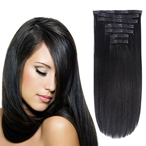 """Clip in Hair Extensions Triple Weft 20"""" Straight Heat-Resisting Fiber Hairpiece #1B Off Black 7Pcs 140g"""