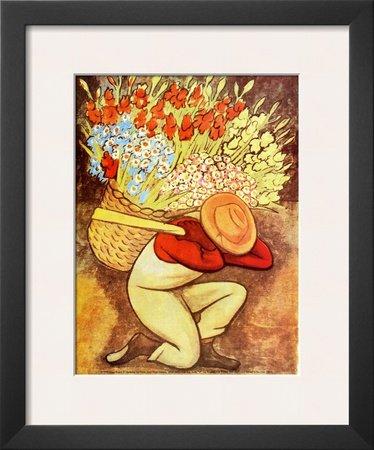 Amazon.com: El Vendedora De Flores Framed Art Poster Print by Diego ...