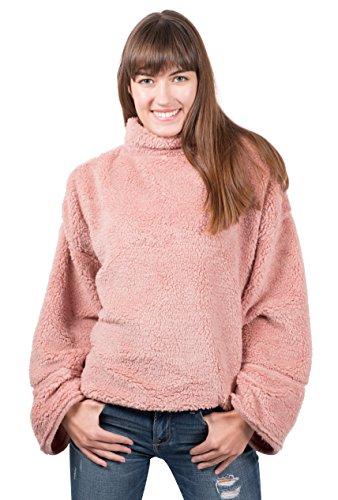 Turtleneck Mock Fleece - Brooklyn Cloth Women's Sherpa Fleece Sweatshirt Mock Turtleneck Pullover, Pink Medium