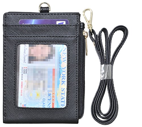 Beurlike Bifold ID Badge Holder Case Leather Credit Card Wallet Neck Lanyard (Black)