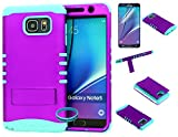Galaxy Note 5 Case, Wireless Fones TM Hybrid Kickstand Shockproof Impact Resistant Purple Snap On Over Baby Teal Silicone Case Cover (Wireless Fones TM Wrist band & Screen Protector Included)