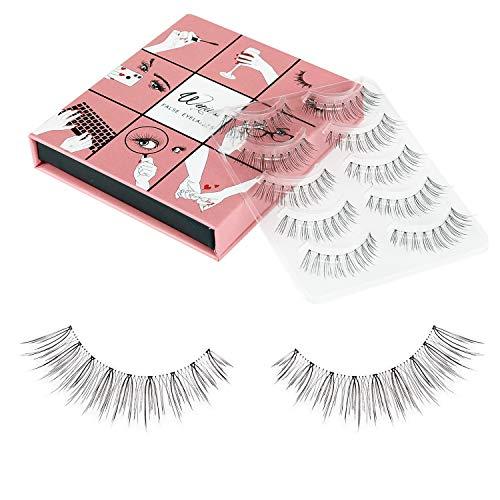 Fake Eyelashes Wenida 5 Pairs 100% Handmade Reusable Long Soft Reusable, Natural look False Eyelashes
