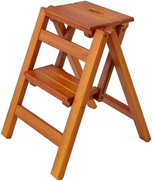 TD Escalera Plegable 2 Pasos de Madera Ligero y Plegable for el Adulto del niño for la Biblioteca Loft Cocina decoración del hogar Escalera: Amazon.es: Hogar