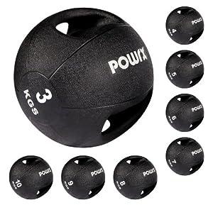 POWRX Medizinball mit Griffen / Gymnastikball / Fitness 3, 4, 5, 7, 8 kg (3 Kg)