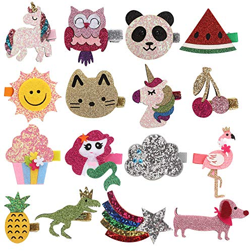 inSowni 16 Pack Glitter Cute Fruit Unicorn Panda Cat Owl Alligator Hair Clips Barrettes for Baby Girls Toddlers Kids