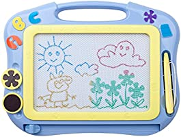 ikidsislands IKS85B [Travel Size] Color Magnetic Drawing Board for Kids & Toddlers - Non Toxic Mini Magna Sketch Doodle Educational Toy for Girls, with 1 Pen & 2 Stamps (Blue)