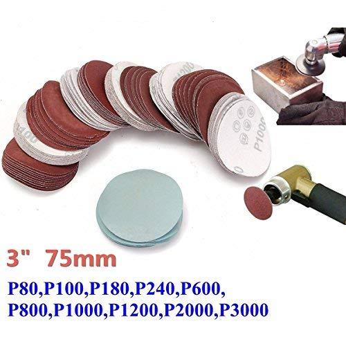 Sanding Discs 80-3000 Grit 3 Inch 75mm Sanding Discs Sandpaper Sanding Polishing Pad Set (Pack of 100) dDanke