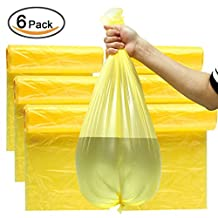 """Plinrise CA Garbage Rubbish Trash Wastebasket Bags small Size 18""""*20"""",thickness: 0.003"""", Great for Indoor Office,living Room, Bedroon,car,30 Counts*6 Rolls/set (Total 180 Counts) (Yellow 6 Gallon)"""