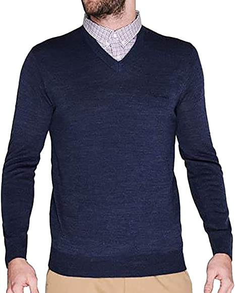 Pierre Cardin Mens New Season V-Neck Knitted Jumper with Mock Shirt Collar