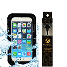 Waterproof Clear Crystal Kickstand Case + Neckstrap + Handsfree EarBud with Mic for Moto XT1644 / Moto G Play / Nexus 6 / Moto Z Play / Droid Turbo 2 / Moto X Pure / G4 XT1621 / XT 1058 / Moto E