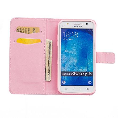 Samsung J5 2015 Funda Alfort Carcasa Samsung Galaxy J5 2015 Case de Piel Pintada Cover La tapa de la Cubierta del Cuero Moda Case con Soporte Plegable y Ranura de Tarjeta para Samsung Galaxy J5 2015 ( Bear
