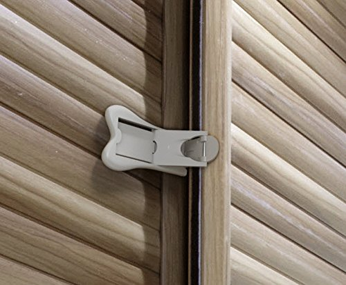 Sure Basics SB22 Sliding Door Lock, Grey/White, 2 (Sliding Closet Door Locks)