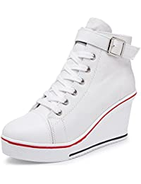 Women's Sneaker Fashion Canvas High-Heeled Shoes Lace UP...