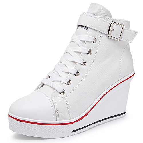 Smilety Women's Sneaker Fashion Canvas High-Heeled Shoes Lace UP Wedge Pump Shoes (9 B(M) US, White)