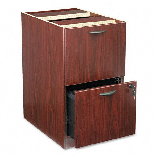 basyx Products - basyx - BL Laminate Two-Drawer Pedestal File, 15-5/8w x 21-3/4d x 27-3/4h, Mahogany - Sold As 1 Each - Not freestanding, attaches under worksurface. - Thick top is dent- and stain-resistant. - Full-extension file drawer accommodates lette by basyx by HON
