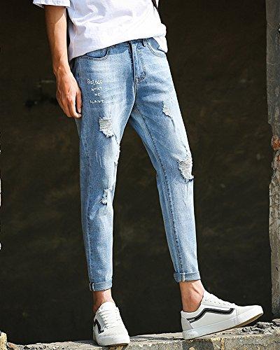 Uomo Del Stretch Sottili Matita Azzurro Foro Pantaloni Lunghi Lavati Chiaro Jeans YSrZAaqwY