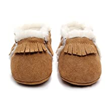 Winter Suede Fleece Lined Rubber Soles Non Slip Warm Baby Boots Girls Boys Moccasins With Fur Baby Shoes