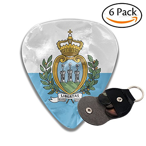 (Flag Of San Marino 351 Shape Classic Celluloid Guitar Picks For Guitar Bass - 6 Pack .71mm)
