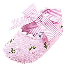 Elaco Infant Baby Girls Moccasins Anti-Slip Soft Sole Princess Shoes (6~12 Month, Pink)