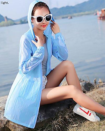 Giubotto Giubotto Manica Incappucciato Sezioni Mare Outwear Baggy Protezione Ragazza Casual Abbigliamento Stampate Moda Donna Outerwear Lunghe Solare Blu Cappotto Cerniera Estivi E Eleganti Con Lunga Floreale qwUUax