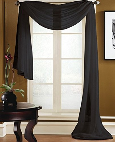 (Gorgeous Home 1 PC SOLID BLACK SCARF VALANCE SOFT SHEER VOILE WINDOW PANEL CURTAIN 216