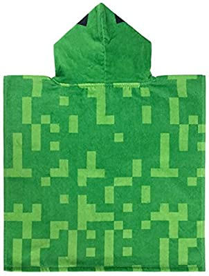 Minecraft Creeper Super Soft & Absorbent Kids Bath/Pool/Beach Hooded Towel, Featuring Creeper - Fade Resistant Cotton Terry Towel, Measures 22 inch x 22 inch (Official Minecraft Product) from Jay Franco & Sons