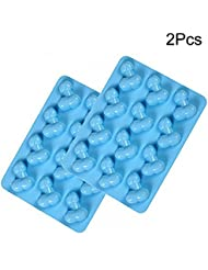 2 Pcs Small Cute Shape Cake Silicone Mold for Bachelorette Party Hilarious Funny DIY Chocolate jelly Candy Cookie Fondant Ice Cube Mould Baking Tool Set