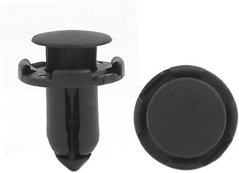 sourcing map 100pcs 8mm Rivet en plastique noir clip de retenue de fixation daile de pare-chocs de voiture