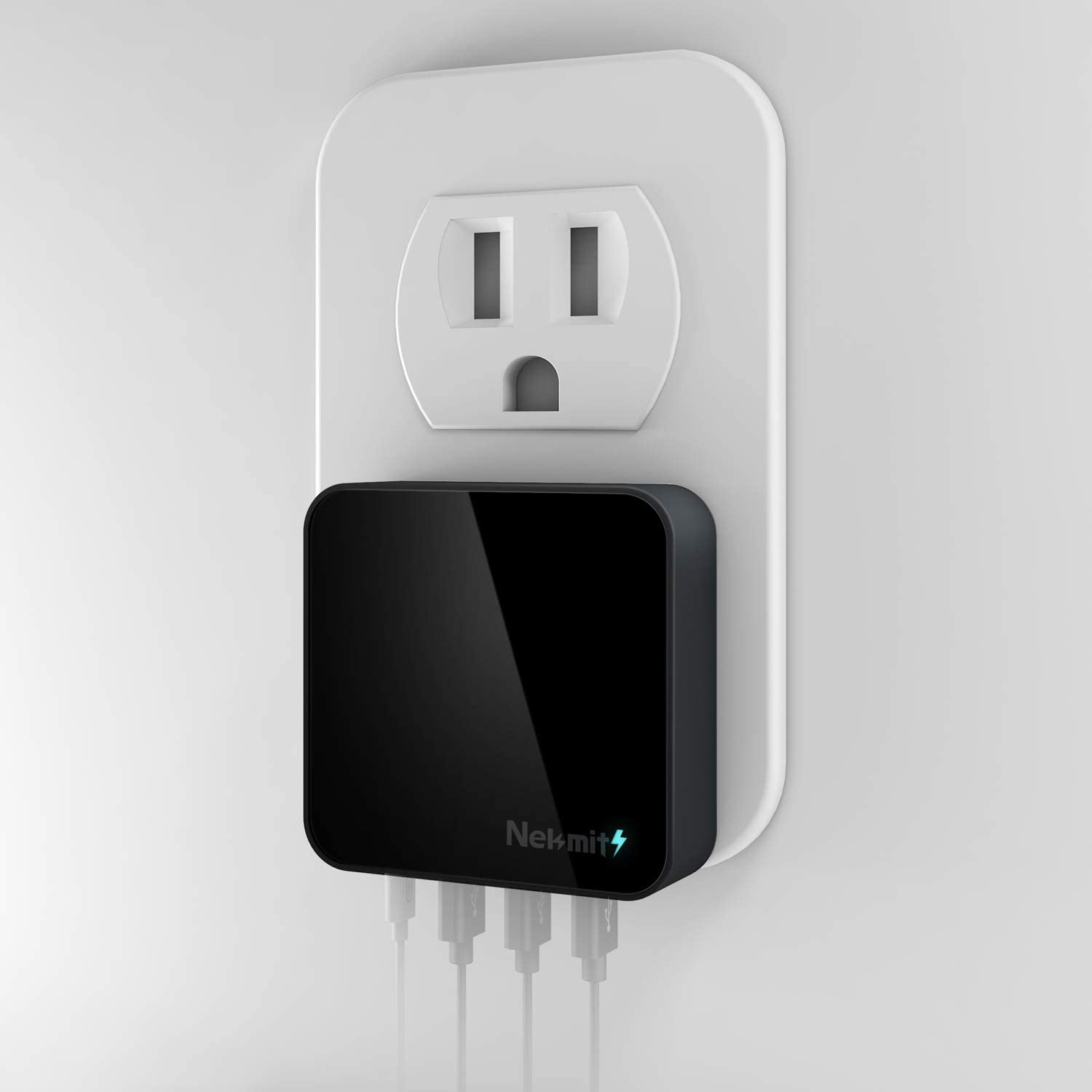 iPhone 11// Pro//Max//XS//Max//XR//X Pixel Galaxy and More Nekmit USB C Charger Thin Flat 42W 4-Port Wall Charger with One 18W Power Delivery PD 3.0 and 3 USB Port for iPad Pro