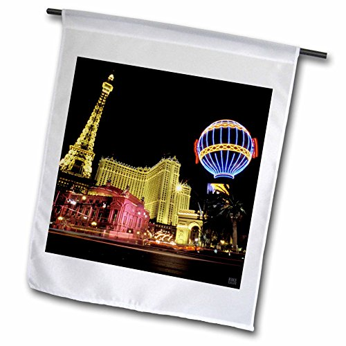 3dRose fl_37789_1 Paris Hotel and Casing at Las Vegas Strip United States Garden Flag, 12 by ()