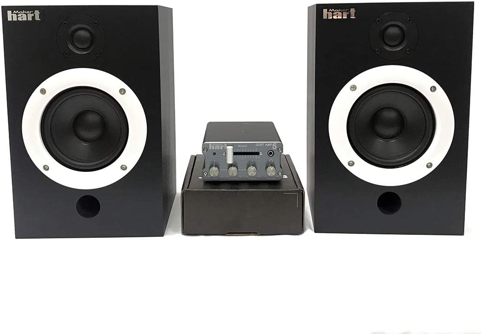 Maker Hart Just Amp 5 with wood speaker - Compact Integrated Amplifier with Phono Preamp, Home Theater Speaker (FULLPACKAGE)
