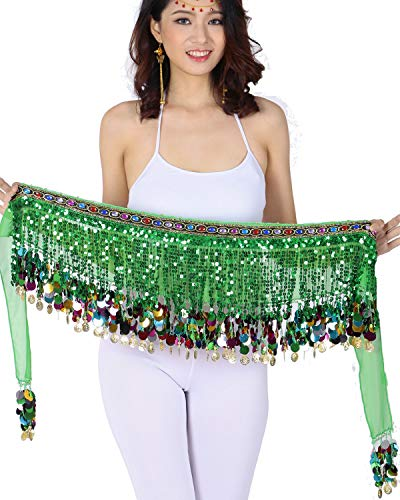 ZLTdream Belly Dance Color Film Gong Hip Scarf Chiffon With Sequin Dark Green